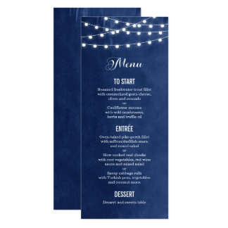 Summer String Lights Wedding Menu Card