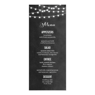 "Summer String Lights Wedding Menu Card 4"" X 9.25"" Invitation Card"