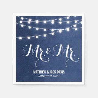 Summer String Lights Wedding Monogram Paper Napkin