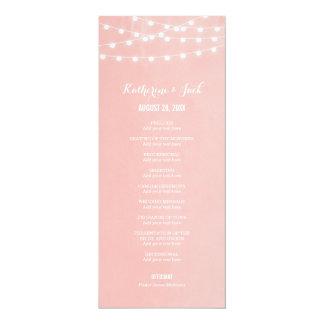 Summer String Lights Wedding Program 4x9.25 Paper Invitation Card