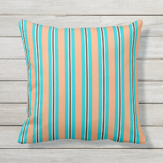 Summer stripes - aqua, coral and brown outdoor pillow