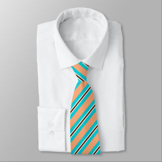 Summer stripes - aqua, coral and brown tie