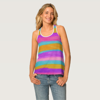 Summer Stripes Colorful Racer-back Tank Top