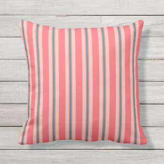 Summer stripes - coral and turquoise throw pillow