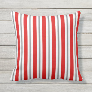 Summer stripes - deep red white and gray / grey throw pillow