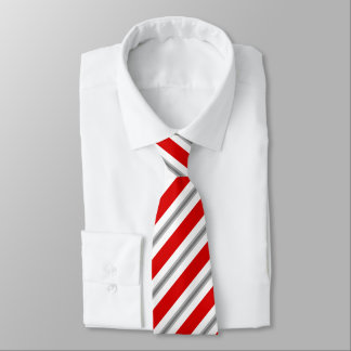 Summer stripes - deep red white and gray / grey tie