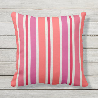 Summer Stripes Pattern | Pink and Red Throw Pillow