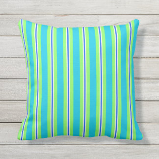 Summer stripes - turquoise and lime green outdoor pillow