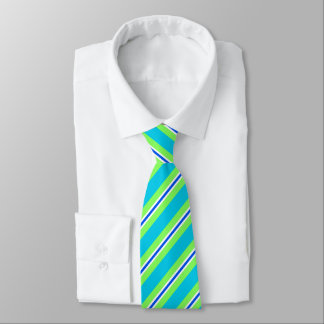 Summer stripes - turquoise and lime green tie