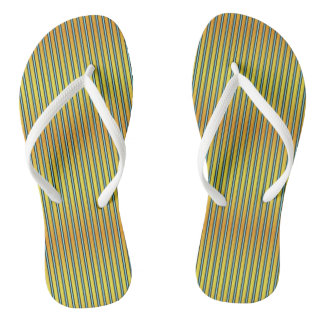 Summer Stripes Yellow Orange Aqua Flip Flops