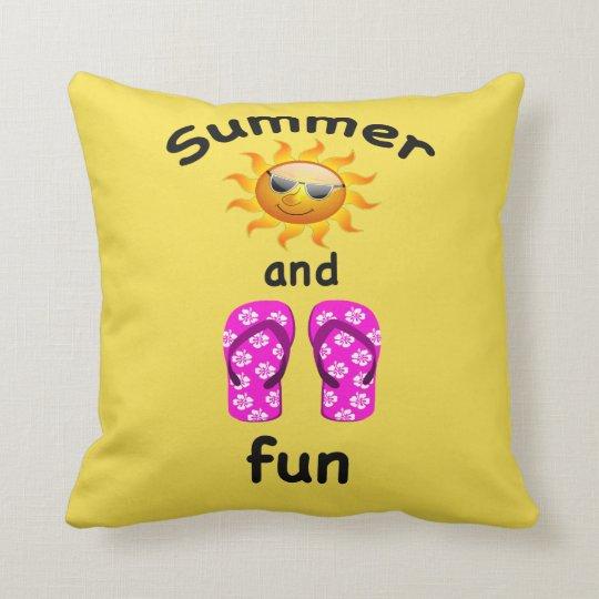 Summer sun and flip flop fun throw pillow