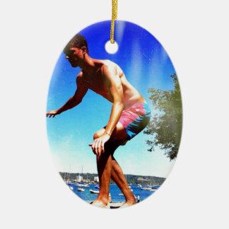 Summer Sun Slacklining Ceramic Ornament