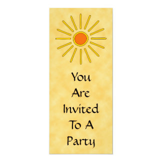 "Summer sun. Warm yellow colors. 4"" X 9.25"" Invitation Card"