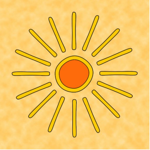 Summer sun. Warm yellow colors. Photo Cut Out