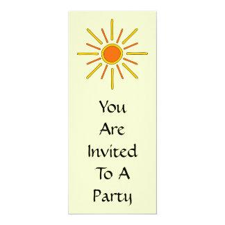 "Summer sun. Yellow and orange. 4"" X 9.25"" Invitation Card"