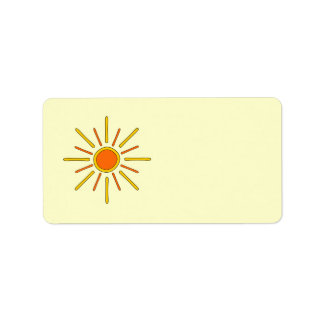 Summer sun. Yellow and orange. Label
