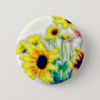 Summer Sunflower and Strawflower Bouquet 2 Inch Round Button