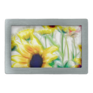 Summer Sunflower and Strawflower Bouquet Belt Buckle