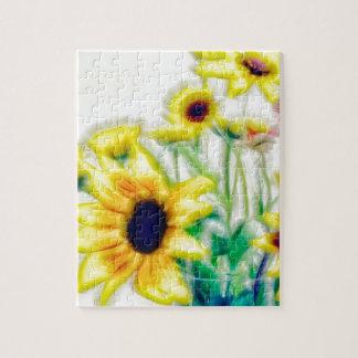 Summer Sunflower and Strawflower Bouquet Jigsaw Puzzle