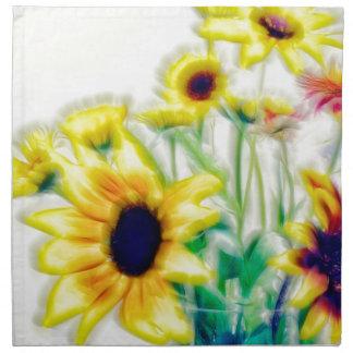 Summer Sunflower and Strawflower Bouquet Napkin