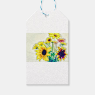 Summer Sunflower and Strawflower Bouquet Pack Of Gift Tags