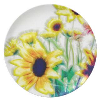 Summer Sunflower and Strawflower Bouquet Plate