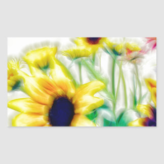 Summer Sunflower and Strawflower Bouquet Sticker