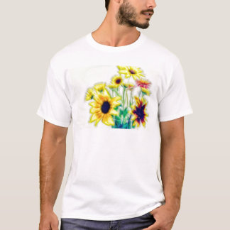 Summer Sunflower and Strawflower Bouquet T-Shirt