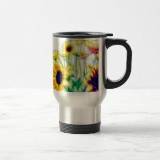 Summer Sunflower and Strawflower Bouquet Travel Mug