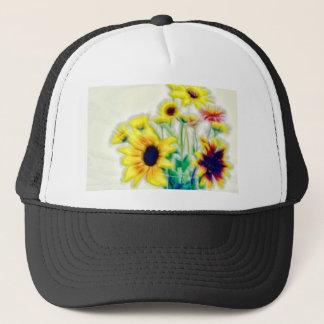 Summer Sunflower and Strawflower Bouquet Trucker Hat