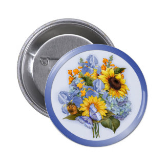 Summer Sunflower Bouquet 2 Inch Round Button