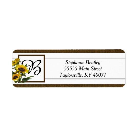 Summer Sunflower Burlap Return Address Label