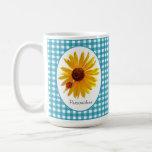 Summer Sunflower Gingham With Name Coffee Mug