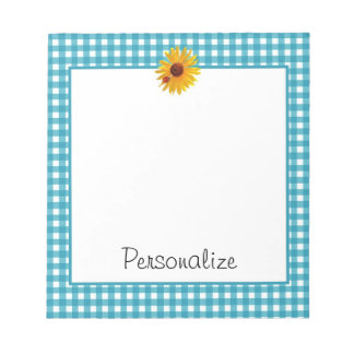 Summer Sunflower Gingham With Name Notepad