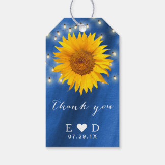 Summer Sunflower String Lights Royal Blue Wedding Pack Of Gift Tags