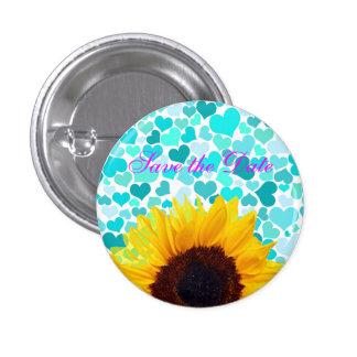Summer Sunflower Wedding Bride Fun Confetti Hearts 1 Inch Round Button