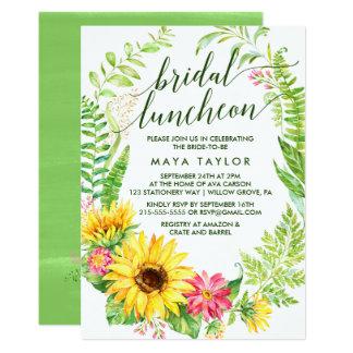 Summer Sunflower Wreath Bridal Luncheon Card