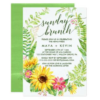 Summer Sunflower Wreath Wedding Sunday Brunch Card