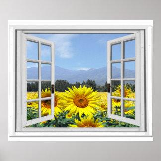 Summer Sunflowers Garden View Fake Window Poster