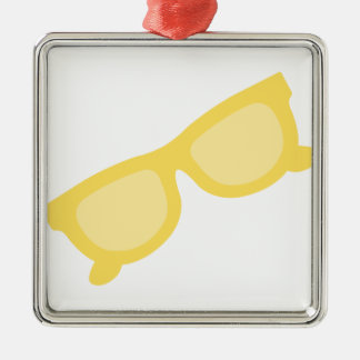 Summer sunglasses yellow hipster eyewear glasses Silver-Colored square ornament