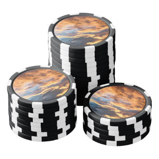 Summer sunset and clouds poker chips