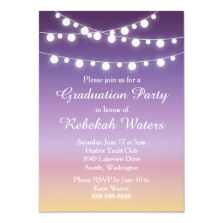 "Summer Sunset Lights Graduation Party 4.5"" X 6.25"" Invitation Card"