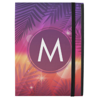 Summer Sunset Palm Trees Monogram Purple Orange