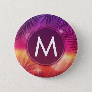 Summer Sunset Palm Trees Monogram Purple Orange 2 Inch Round Button
