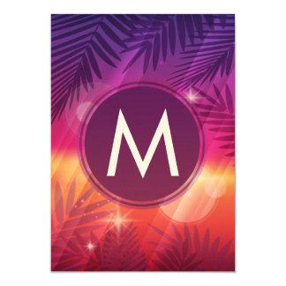 "Summer Sunset Palm Trees Monogram Purple Orange 5"" X 7"" Invitation Card"