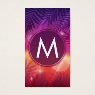Summer Sunset Palm Trees Monogram Purple Orange Business Card