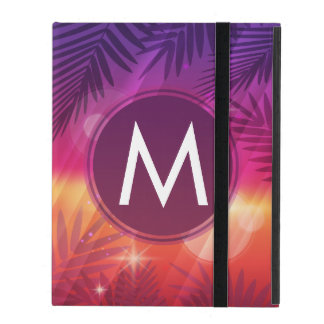 Summer Sunset Palm Trees Monogram Purple Orange Case For iPad