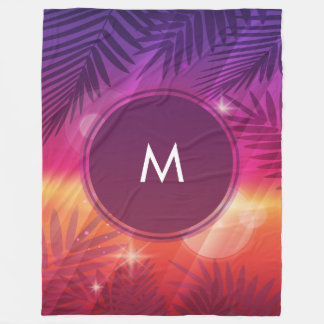 Summer Sunset Palm Trees Monogram Purple Orange Fleece Blanket