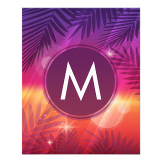Summer Sunset Palm Trees Monogram Purple Orange Full Color Flyer