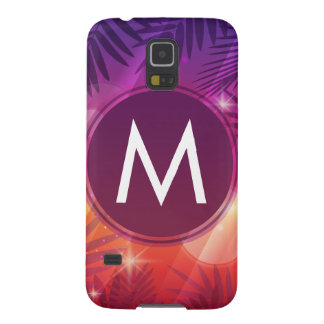Summer Sunset Palm Trees Monogram Purple Orange Galaxy S5 Cases